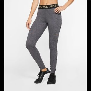 Nike Pro women's metallic fleece lined leggings M